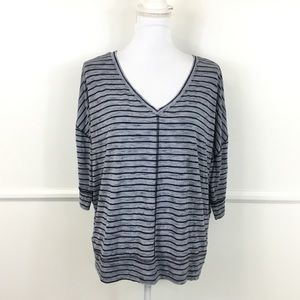 Lane Bryant Blue Striped V Neck Top Womens 18/20